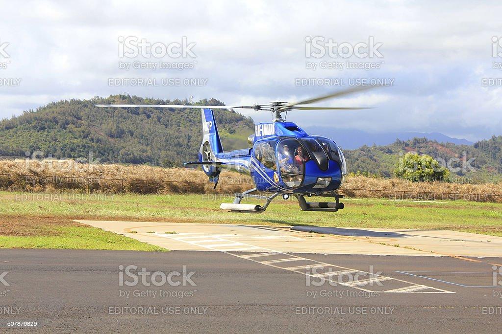 Blue Hawaiian helicopter stock photo