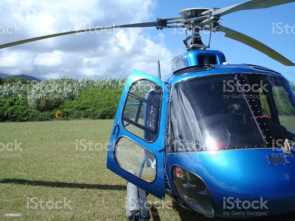 Blue Hawaiian Helicopters Helicopter on Hana stock photo