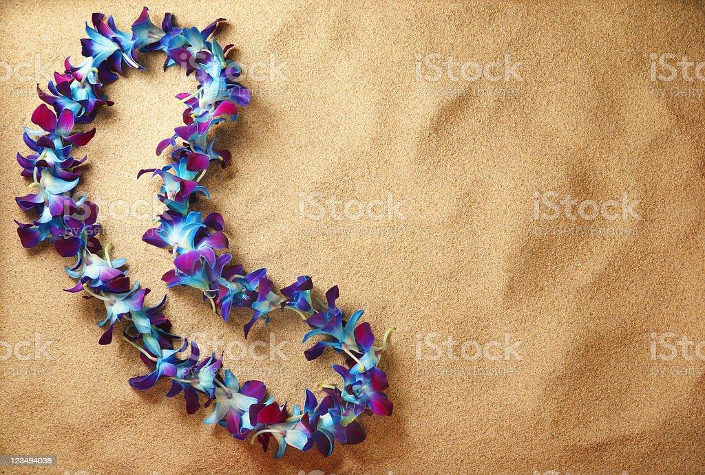 blue hawaiian lei on the beach stock photo