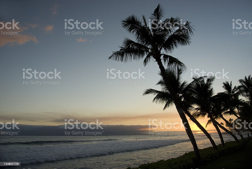 Blue Hawaiian sunset. stock photo
