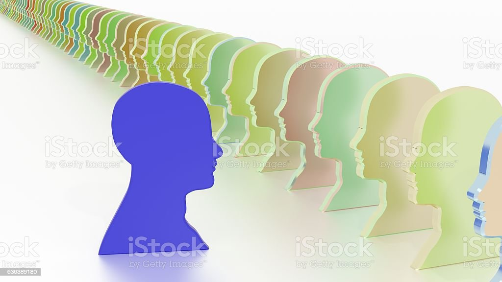 Blue head facing the crowd leadership concept stock photo