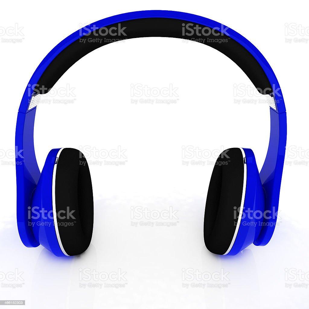 Blue headphones icon stock photo