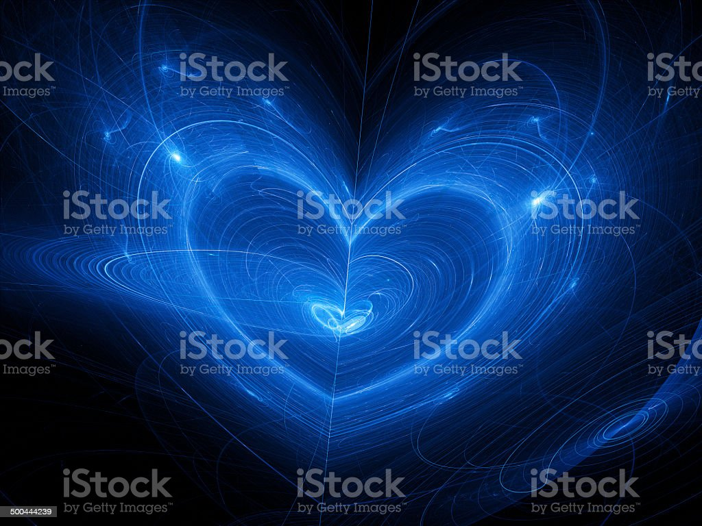 Blue heart fantasy nebula in space royalty-free stock photo