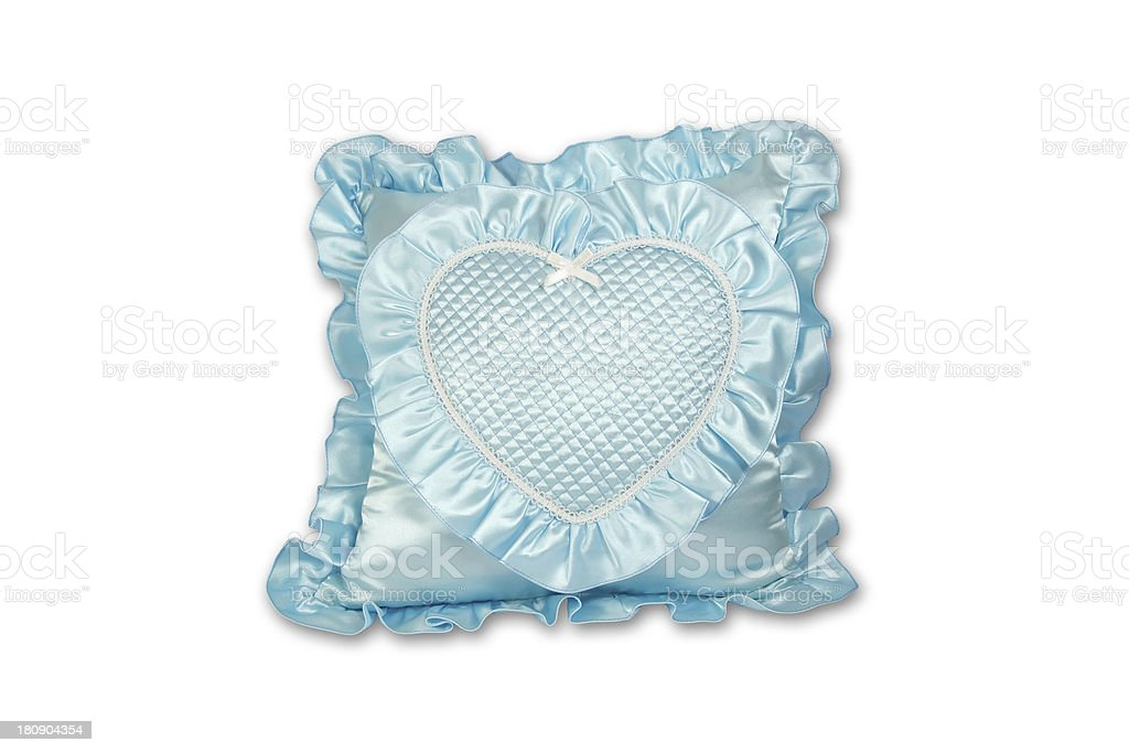 Blue heart shape pillow isolated royalty-free stock photo