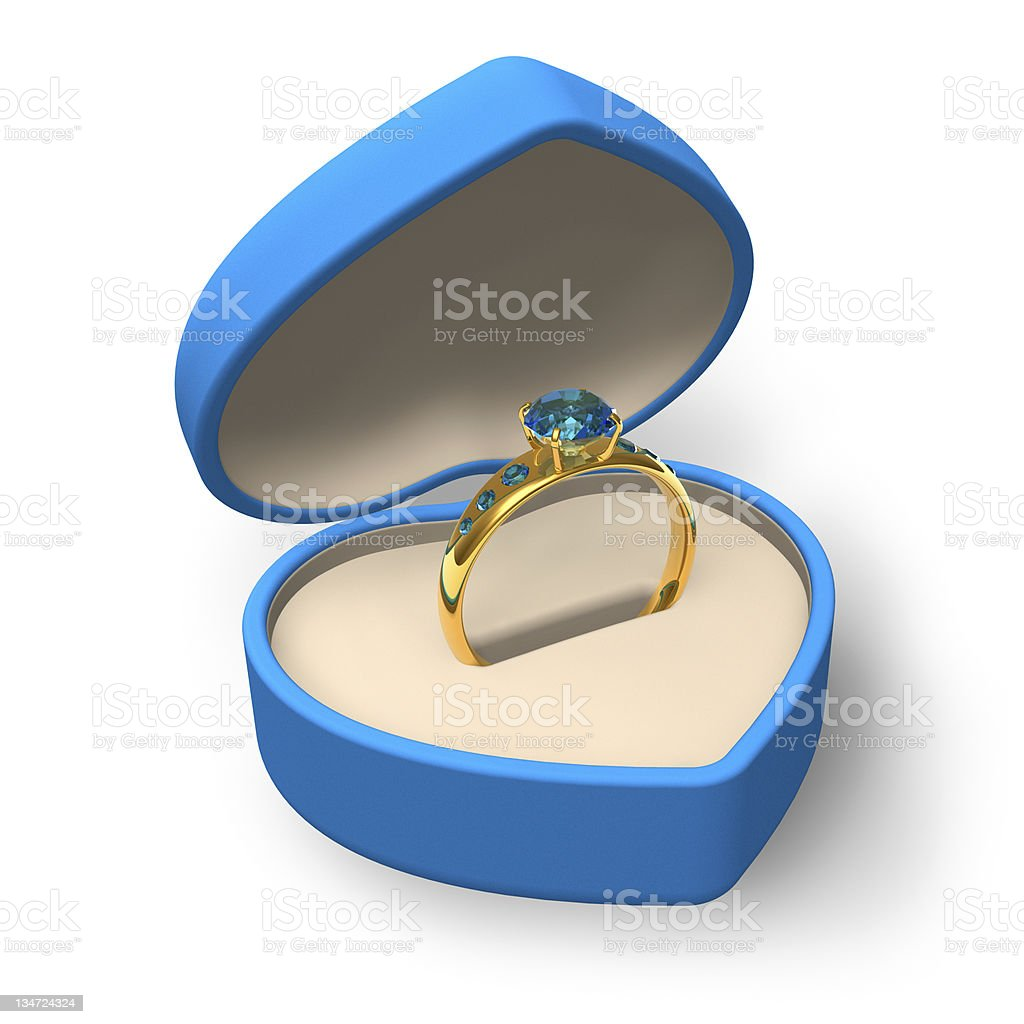 Blue heart-shape box with golden ring and jewels royalty-free stock photo