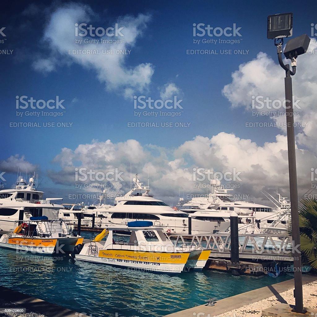 Blue Heaven Marina, Providenciales, Turks and Caicos Islands stock photo