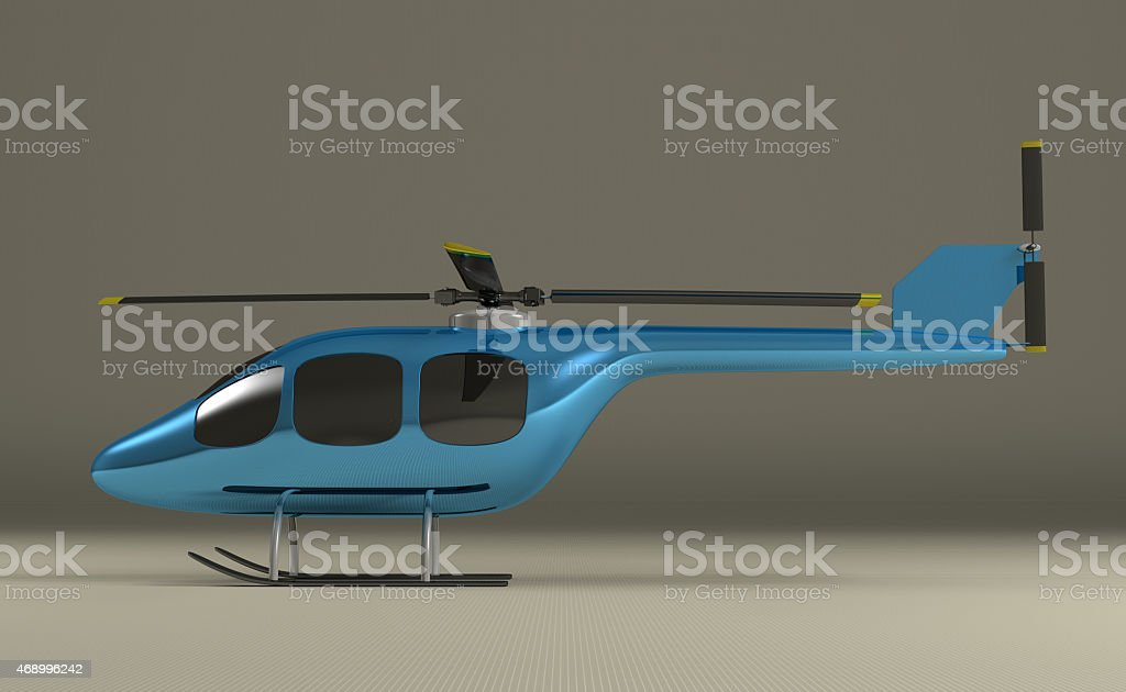 Blue helicopter on gray stock photo