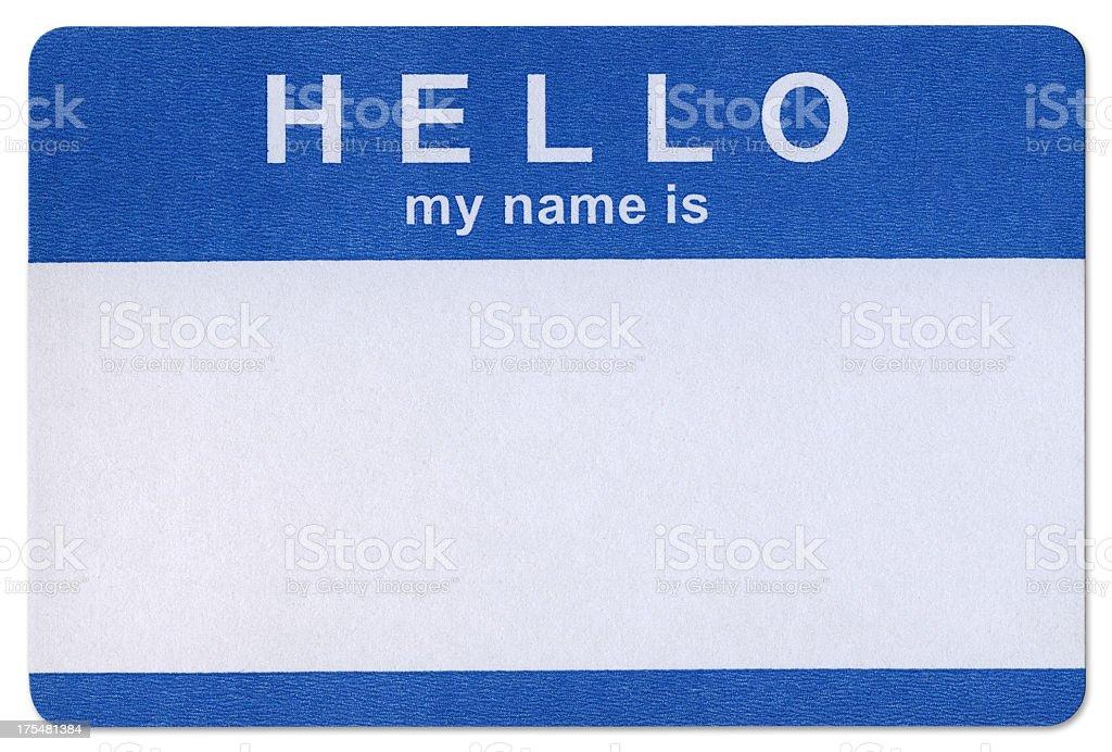 Blue Hello sticker template in white background stock photo