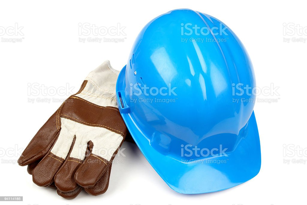 blue helmet and working gloves stock photo