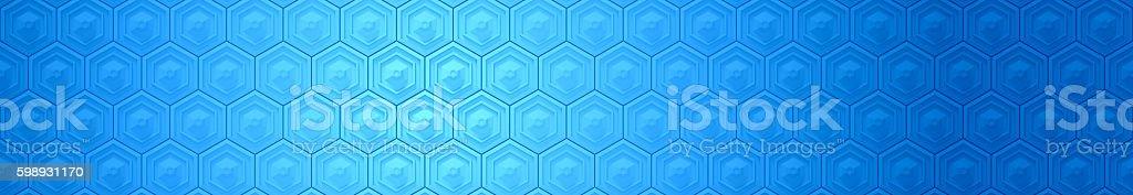 blue hexagon banner background stock photo
