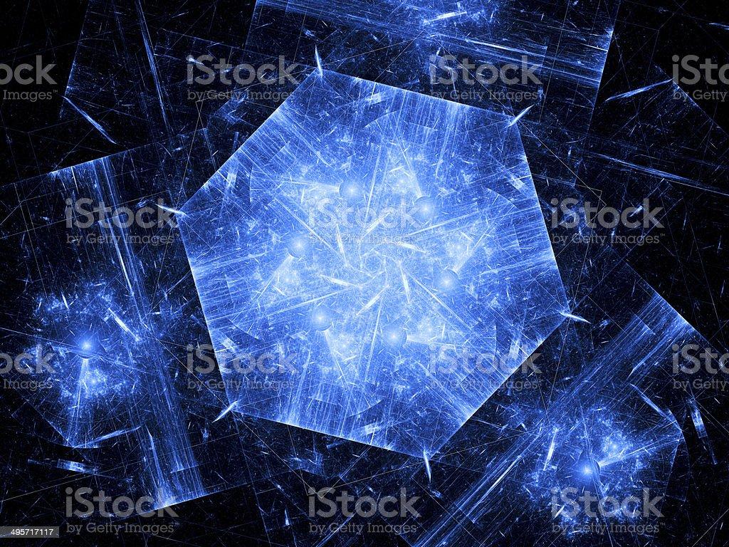 Blue hexagonal object, nanotechnology royalty-free stock photo