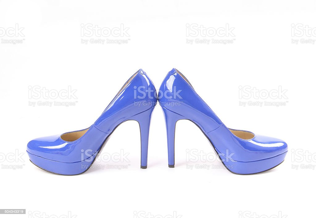 Blue High Heels with platform sole stock photo