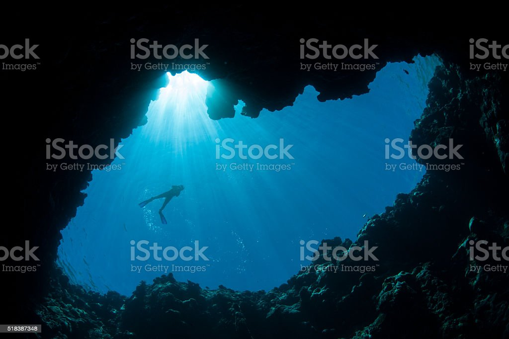 Blue Hole and Snorkeler stock photo