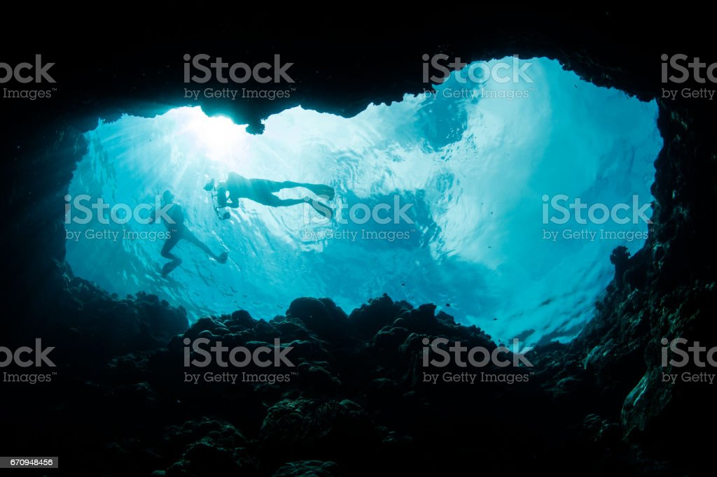 Blue Hole and Snorkelers stock photo