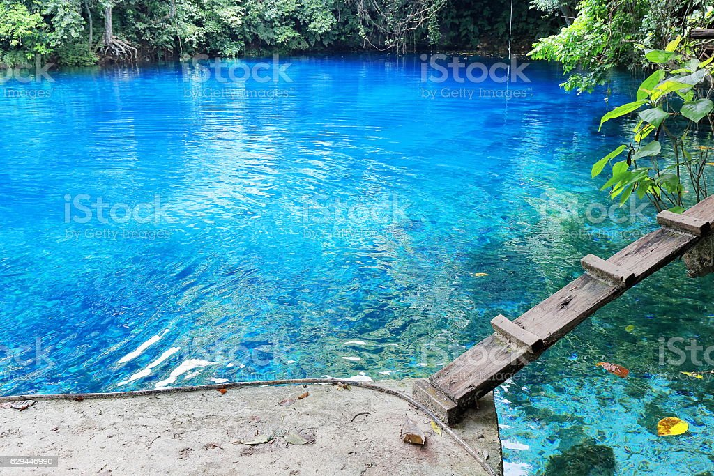 Blue hole near East Coast Road. Espiritu Santo island-Vanuatu. 6893 stock photo