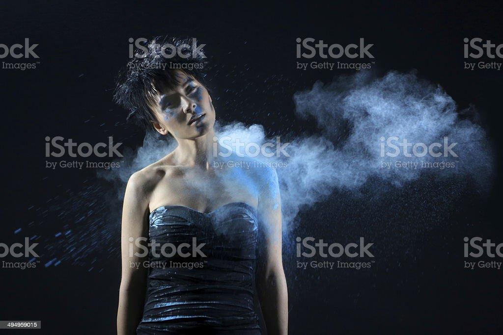 Blue Holi Powder on a Beautiful Woman stock photo