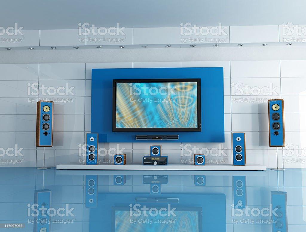 blue home cinema stock photo
