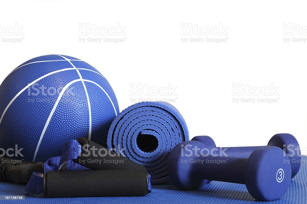 Blue home fitness equipment including weights stock photo