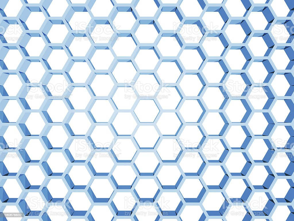 Blue honeycomb structure isolated on white background. 3d render illustration royalty-free stock photo