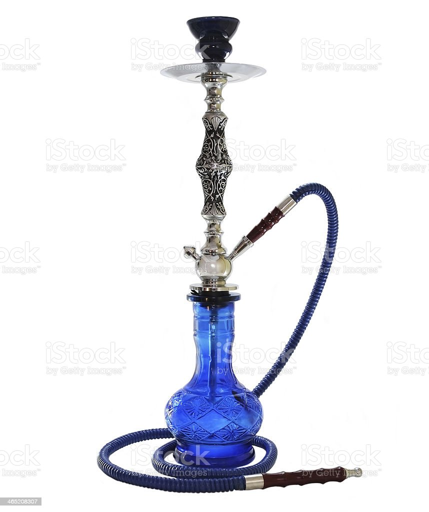 Blue Hookah isolated on white. stock photo