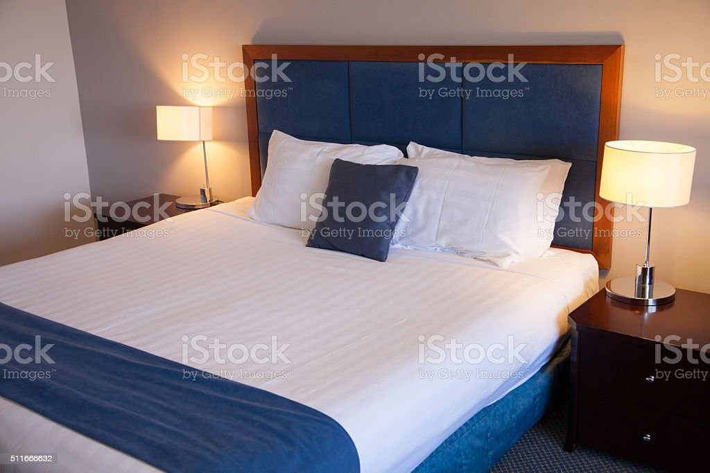 Blue Hotel Room stock photo