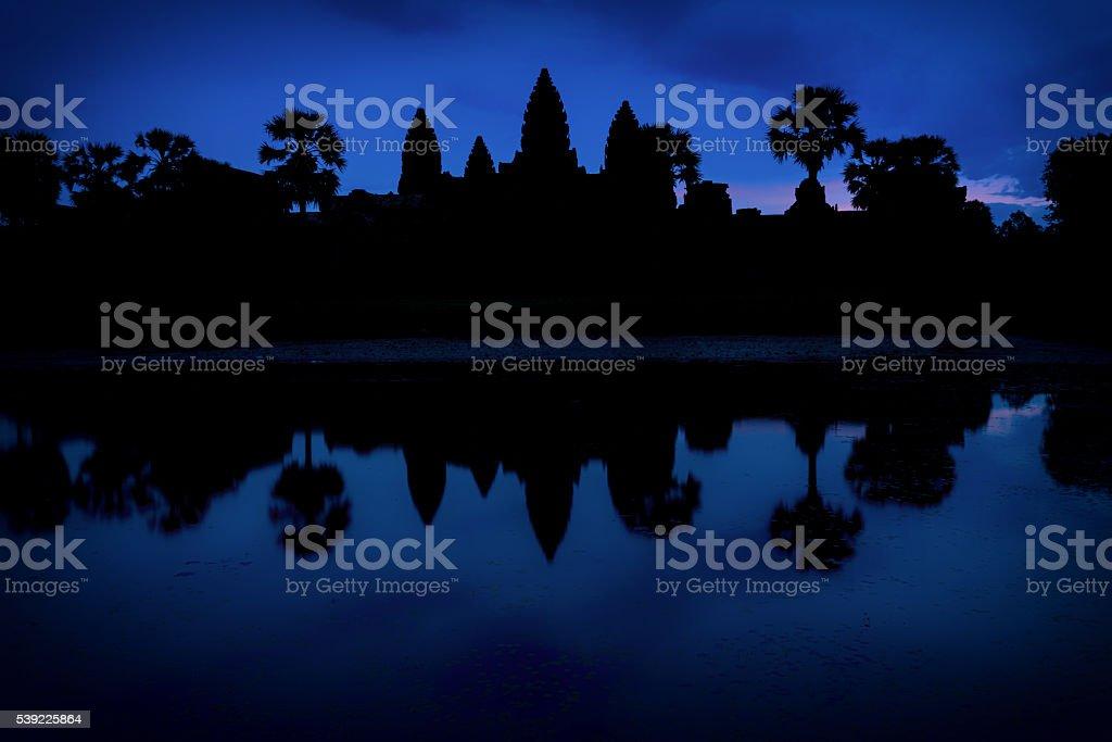 Blue Hour at Angkor Wat stock photo