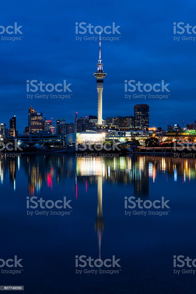 Blue hour from Westhaven Bay stock photo