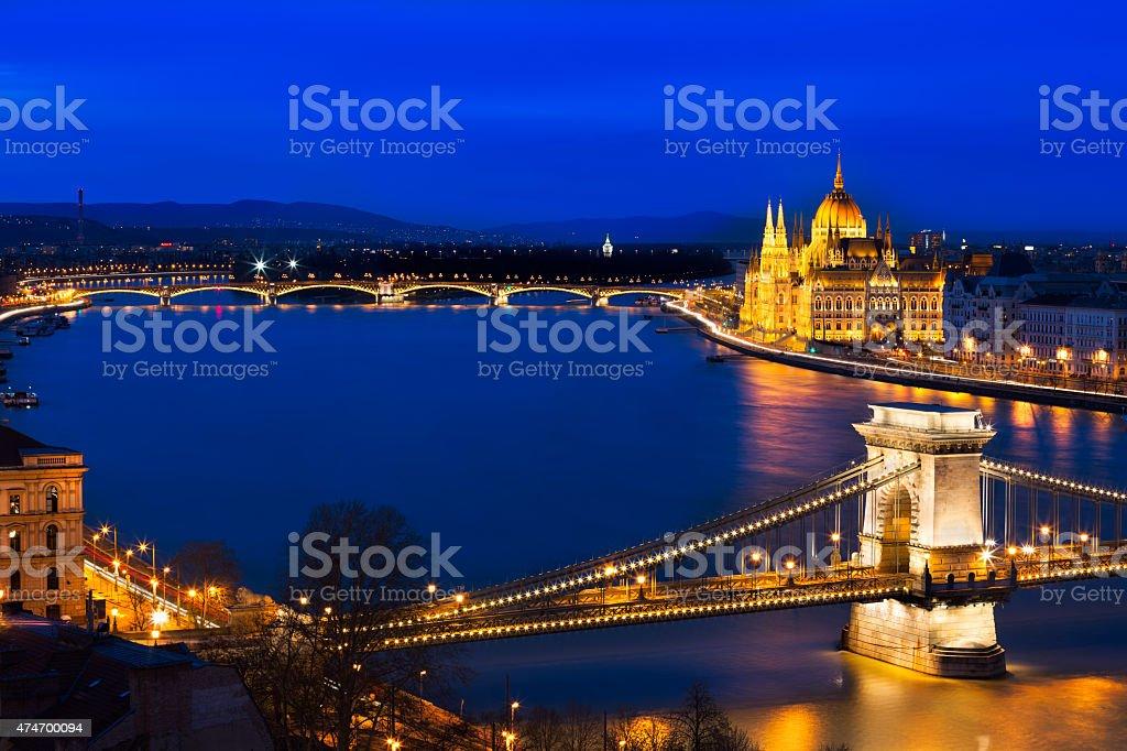 Blue hour in Budapest with Szechenyi Chain Bridge, Hungary stock photo