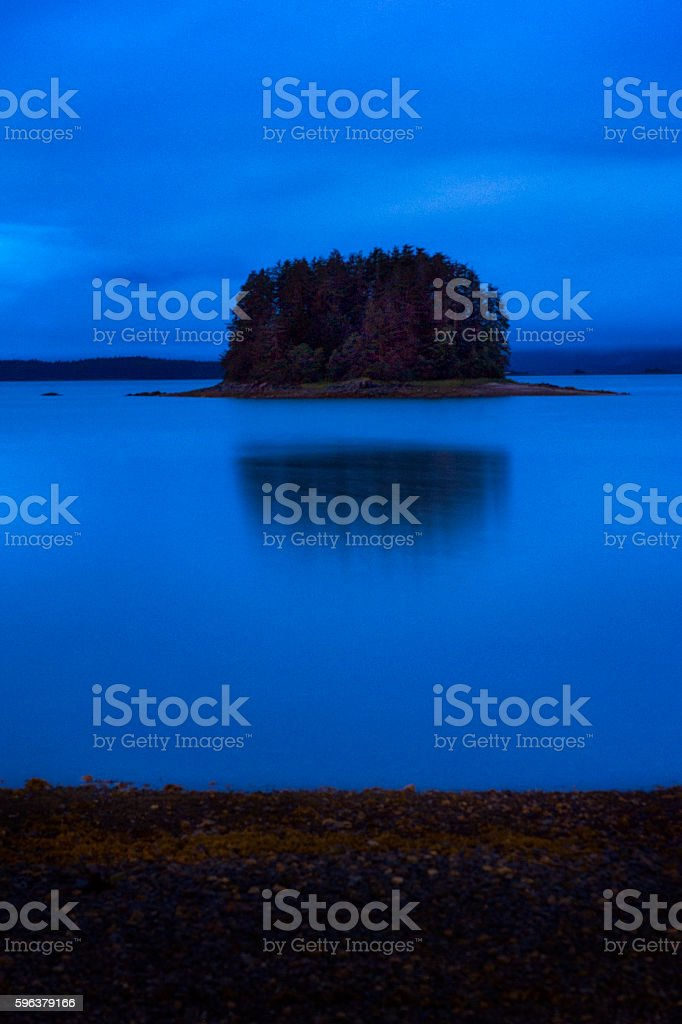 Blue hour in Indian Cove, Juneau stock photo