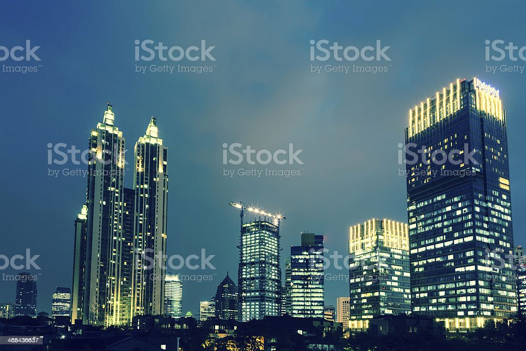 Blue hour in Jakarta, the capital city of Indonesia stock photo