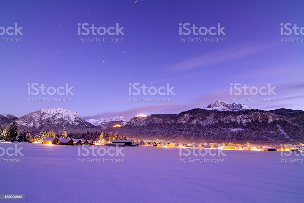 blue hour in the austrian alps royalty-free stock photo