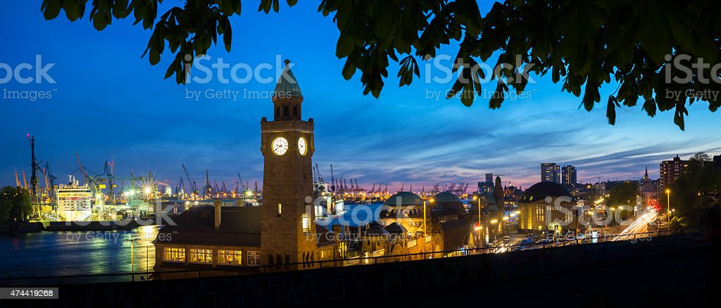 Blue hour in the harbour of Hamburg stock photo