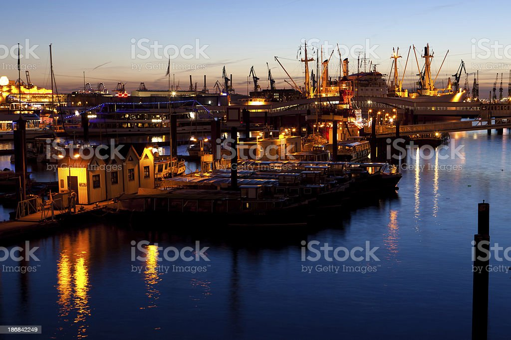 Blue hour in the Harbour stock photo