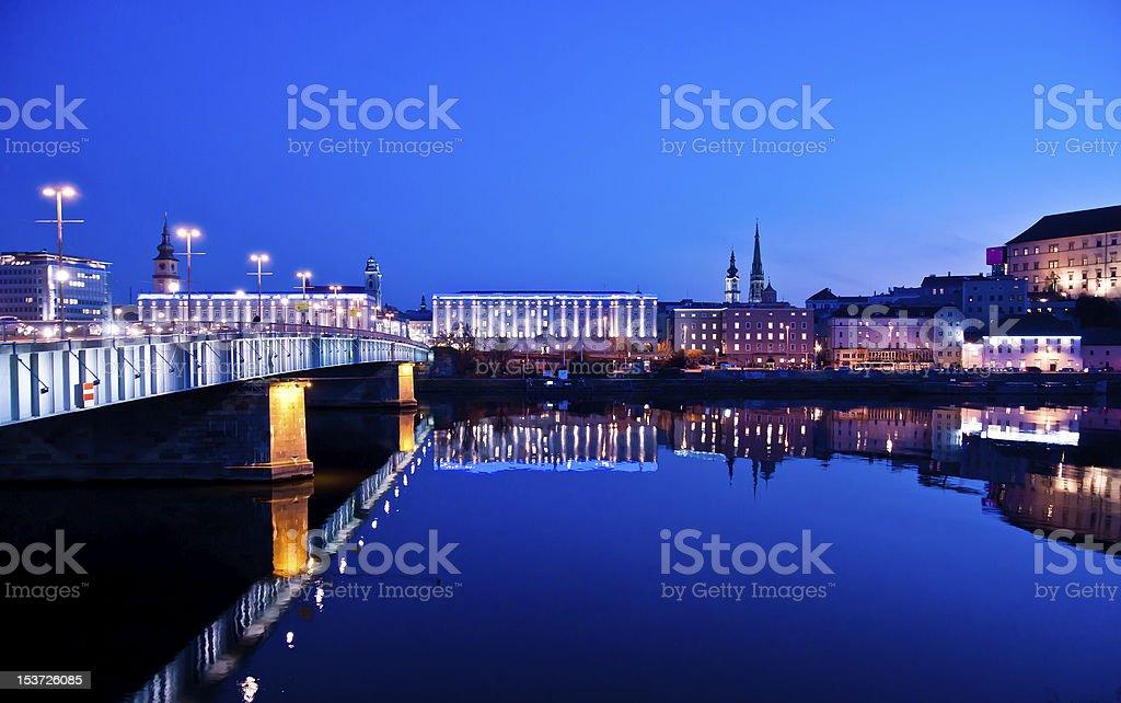 Blue Hour long exposure of Austria's Danube River stock photo
