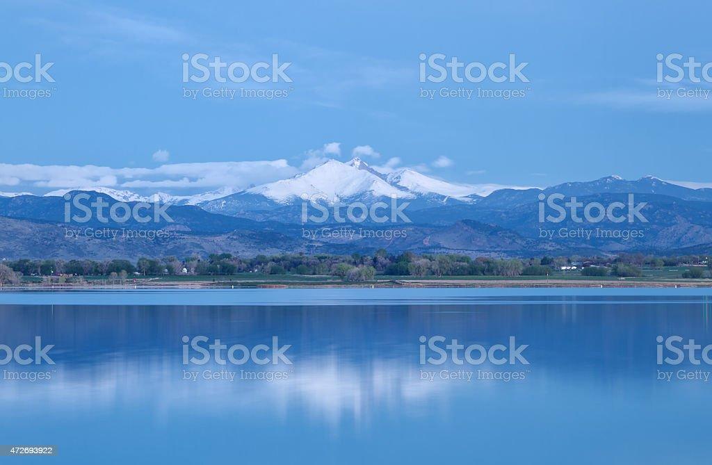 Blue Hour on the Colorado Mountain Peaks stock photo