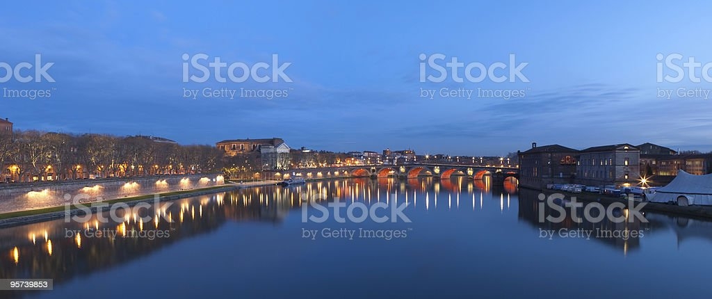 Blue Hour on Toulouse stock photo