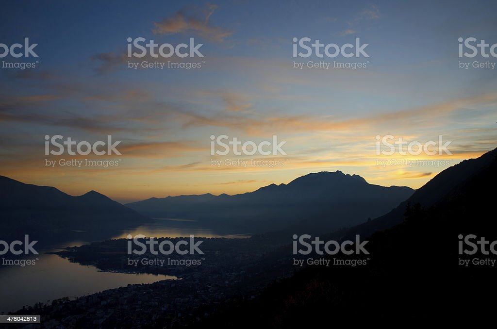 Blue hour over an alpine lake royalty-free stock photo
