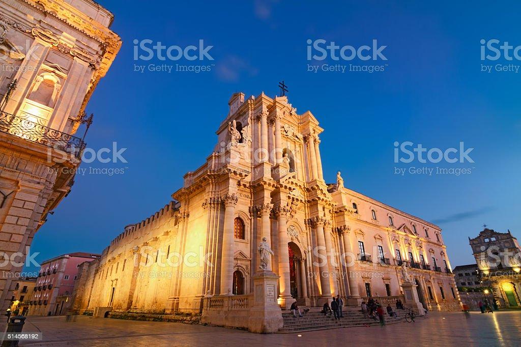 Blue Hour Piazza Duomo 3 - Syracuse - Unesco World Heritage stock photo