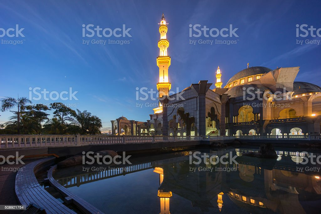 Blue Hour Sunrise at Federal Territory Mosque Kuala Lumpur stock photo