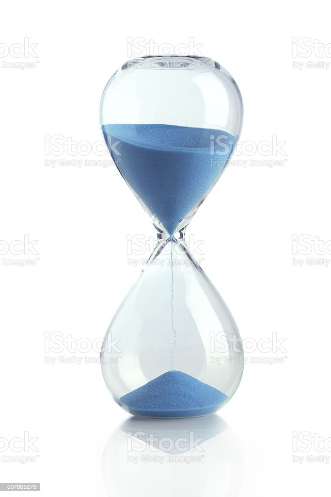 Blue hourglass stock photo