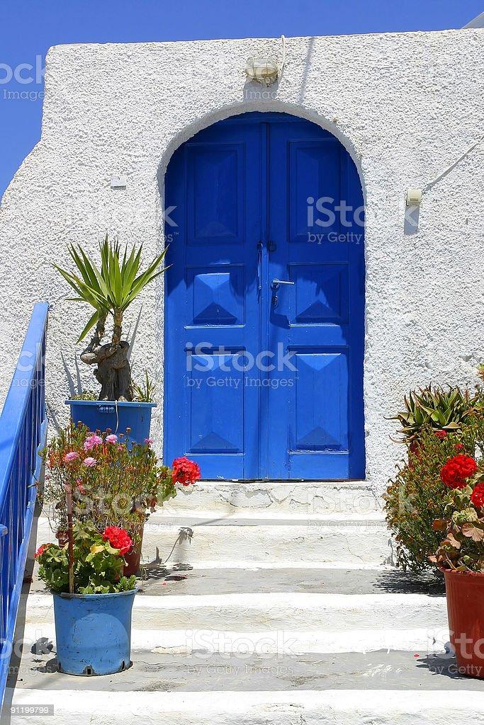 Blue House Door royalty-free stock photo