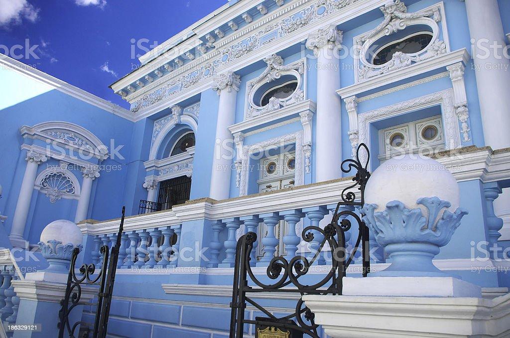 Blue house in Merida, Yucatan, Mexico stock photo