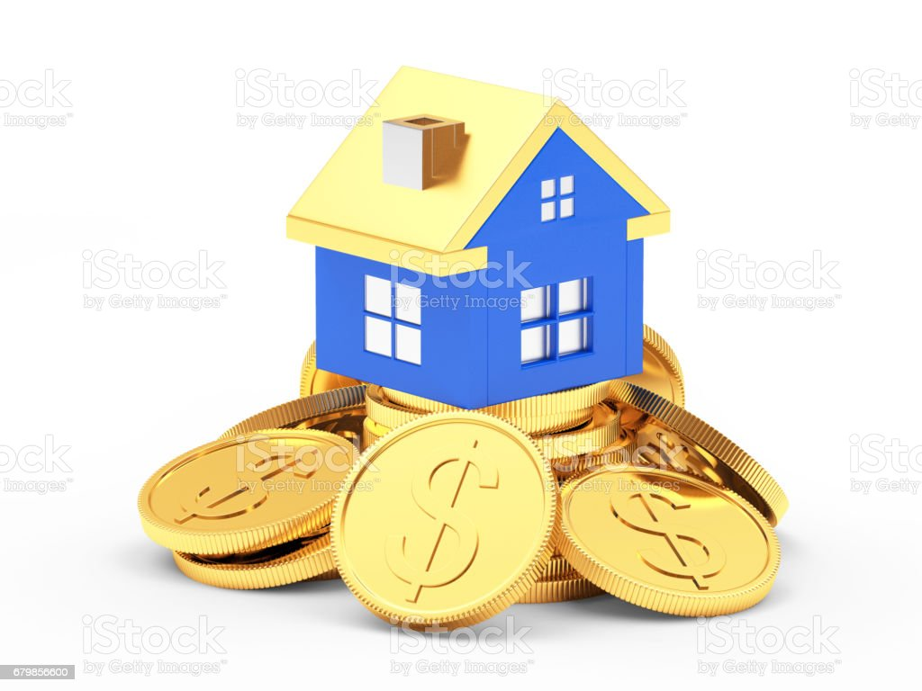 Blue house on a pile of coins stock photo