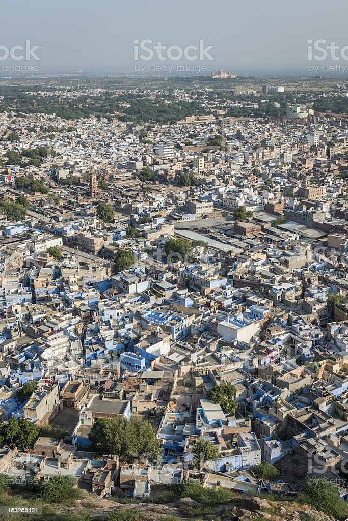 Blue houses in the city of Jodhpur, India royalty-free stock photo