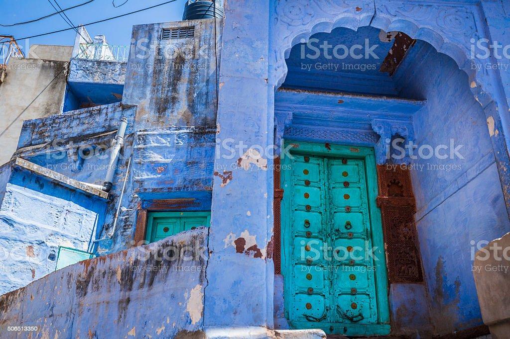 Blue houses Jodhpur Rajasthan India stock photo