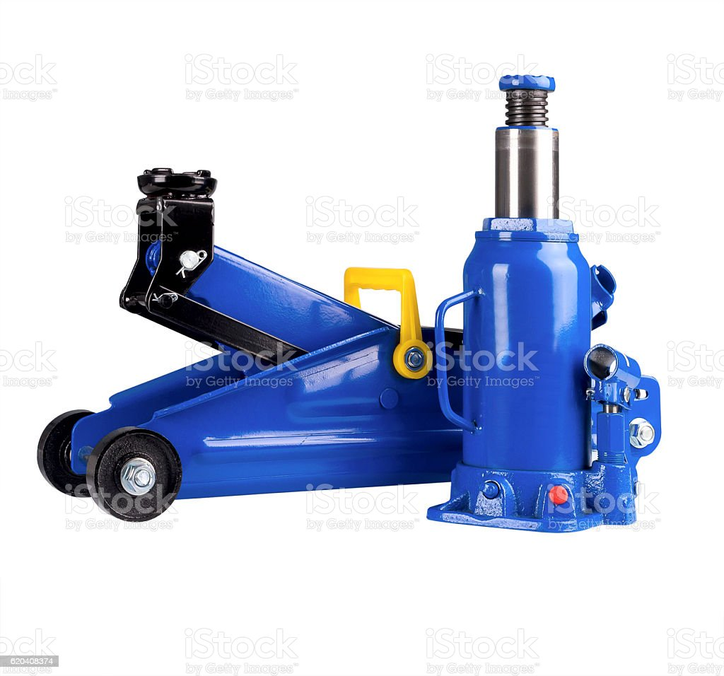 Blue hydraulic floor jack and  Bottle Car stock photo