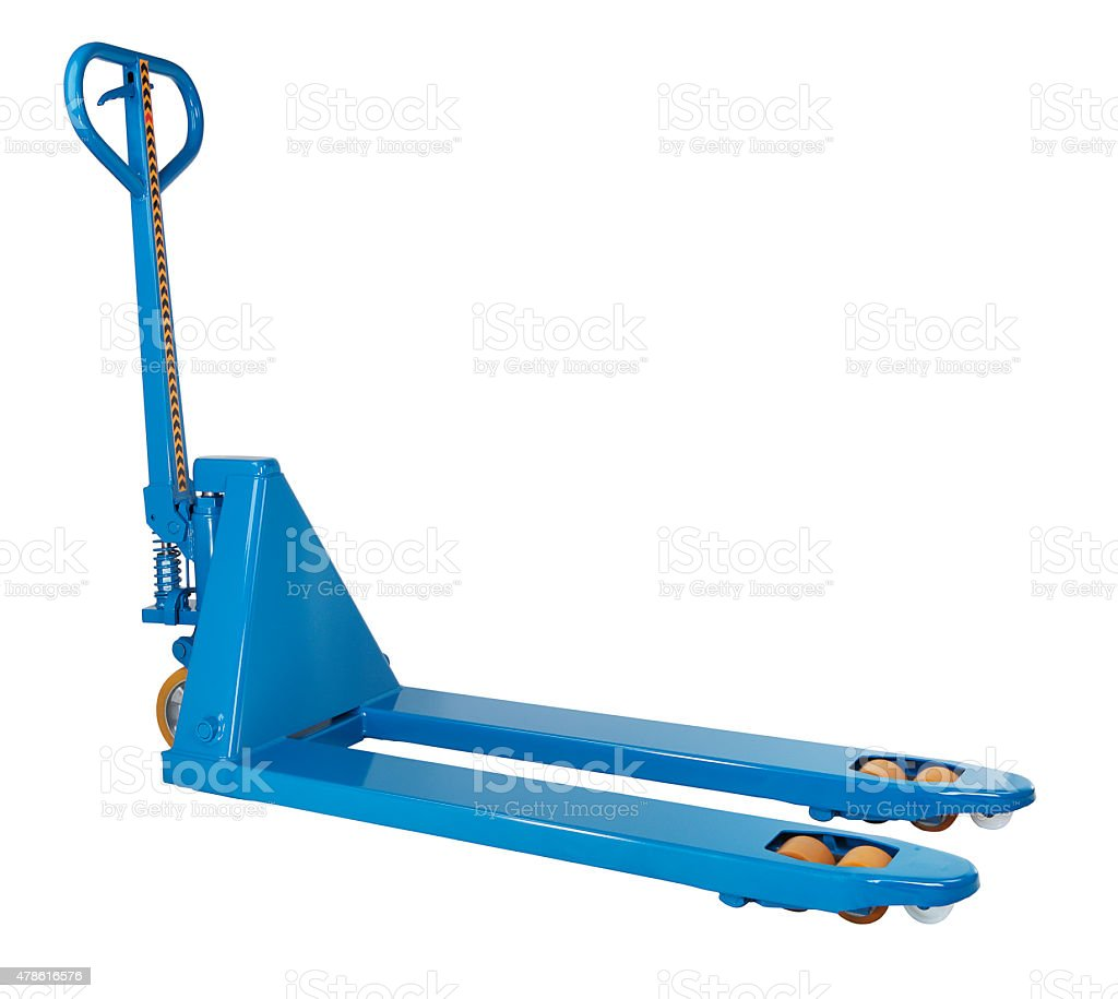 Blue hydraulic manual hand pallet truck stacker, forklift trolley stock photo