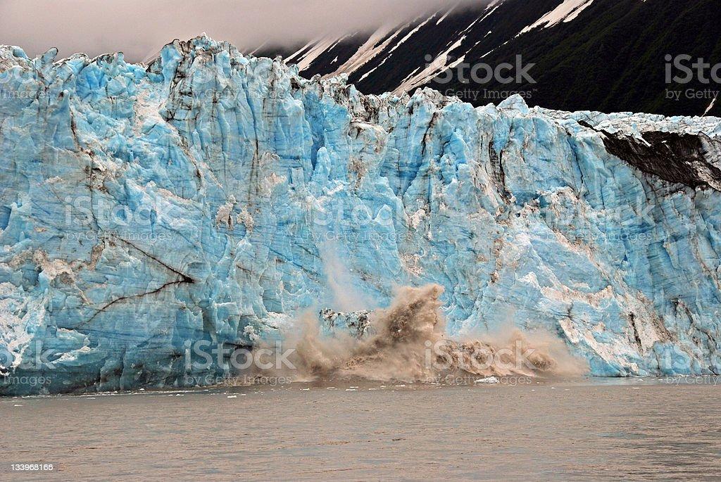 Blue ice calving stock photo