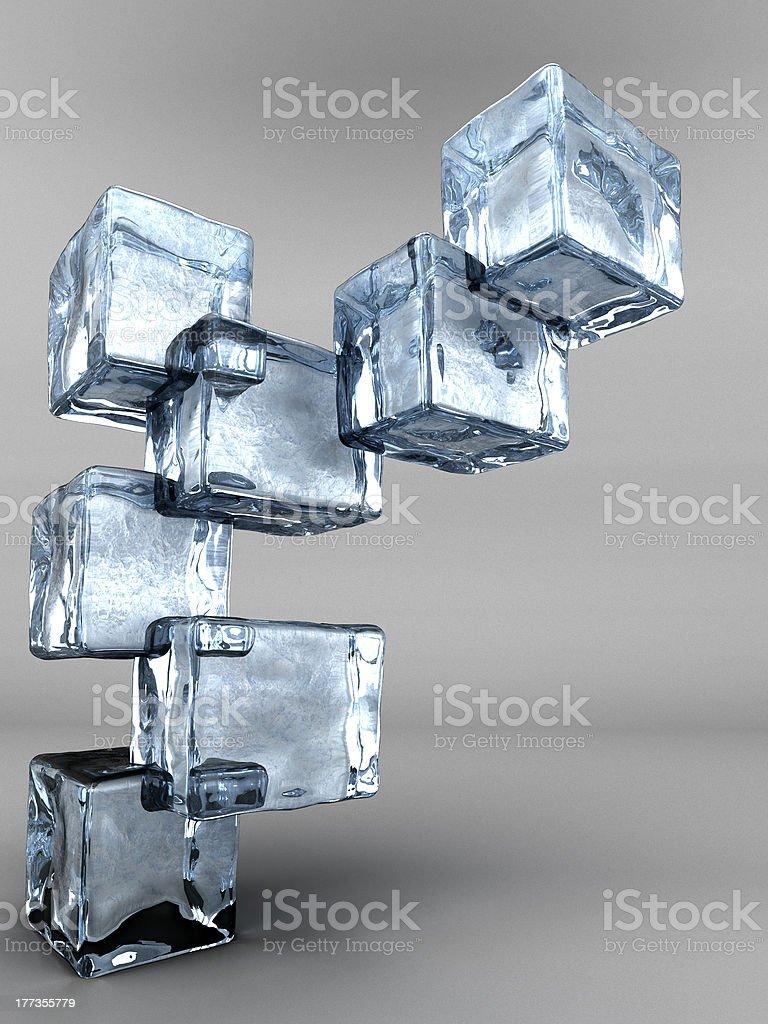 blue ice cubes tree stock photo