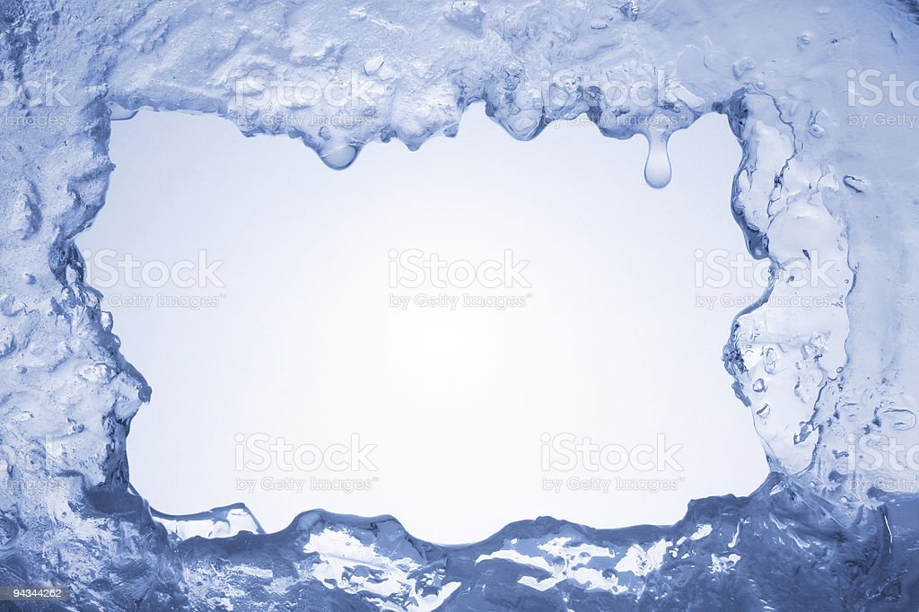 Blue ice framing blank pale blue background stock photo